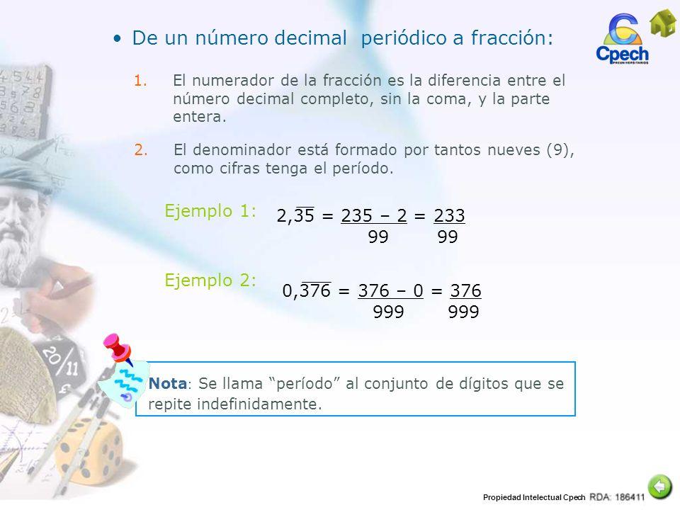 Propiedad Intelectual Cpech De un número decimal periódico a fracción: 1.El numerador de la fracción es la diferencia entre el número decimal completo