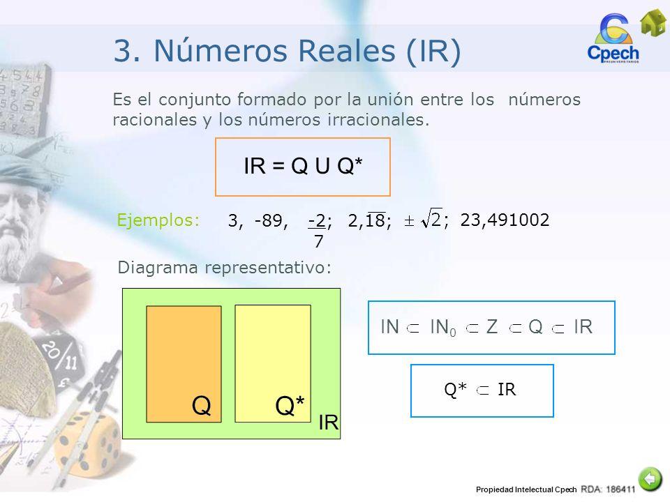 Propiedad Intelectual Cpech 3. Números Reales ( IR ) Es el conjunto formado por la unión entre los números racionales y los números irracionales. IR =