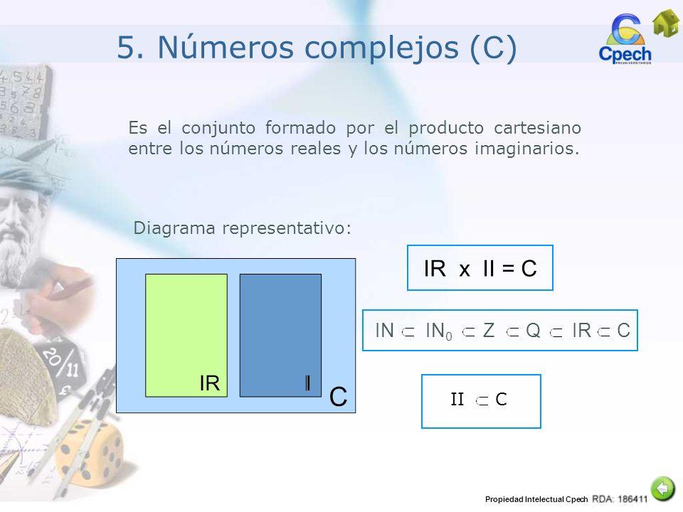 Propiedad Intelectual Cpech 5. Números complejos ( C ) Es el conjunto formado por el producto cartesiano entre los números reales y los números imagin