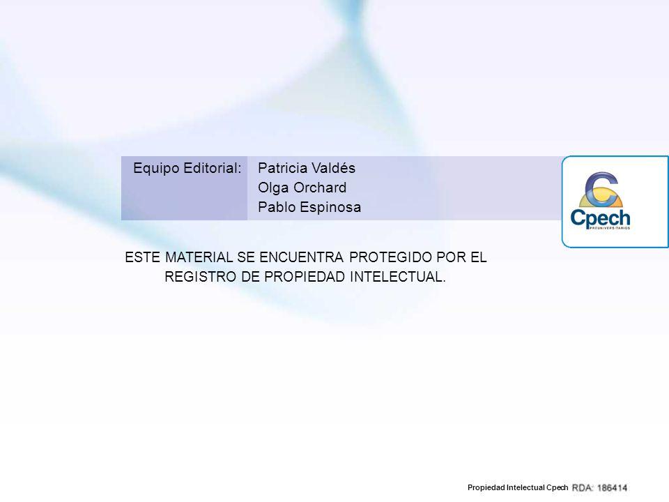 Propiedad Intelectual Cpech ESTE MATERIAL SE ENCUENTRA PROTEGIDO POR EL REGISTRO DE PROPIEDAD INTELECTUAL. Equipo Editorial:Patricia Valdés Olga Orcha
