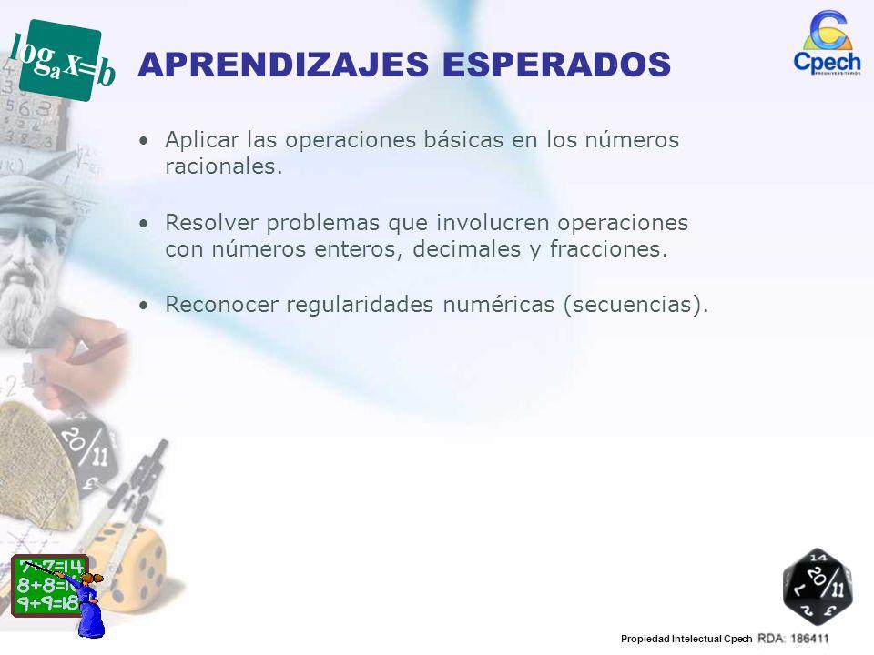 Propiedad Intelectual Cpech APRENDIZAJES ESPERADOS Aplicar las operaciones básicas en los números racionales. Resolver problemas que involucren operac