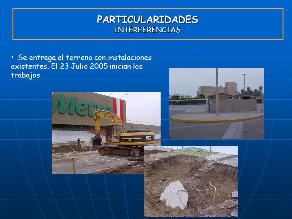 PARTICULARIDADES INTERFERENCIAS Se entrega el terreno con instalaciones existentes. El 23 Julio 2005 inician los trabajos
