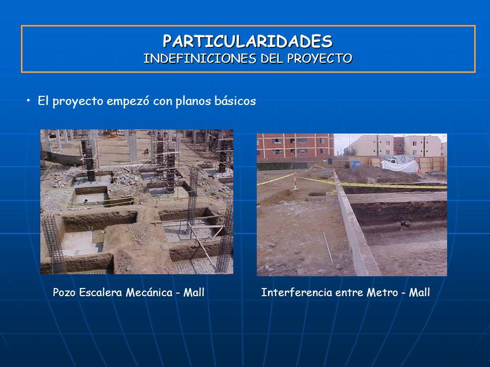 PARTICULARIDADES INDEFINICIONES DEL PROYECTO El proyecto empezó con planos básicos Pozo Escalera Mecánica - MallInterferencia entre Metro - Mall