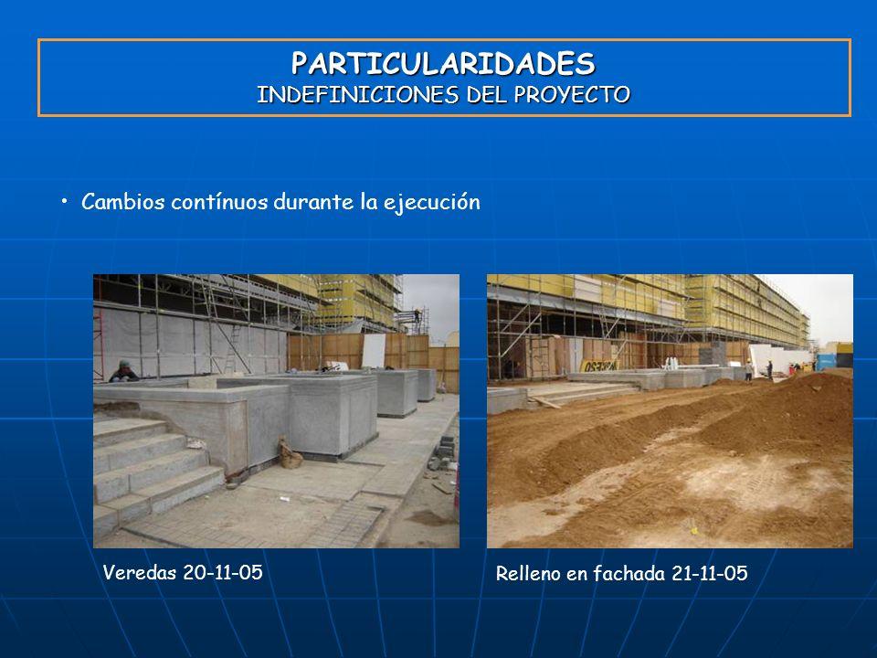 PARTICULARIDADES INDEFINICIONES DEL PROYECTO Cambios contínuos durante la ejecución Veredas 20-11-05 Relleno en fachada 21-11-05