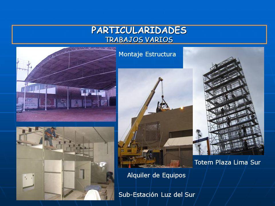 PARTICULARIDADES TRABAJOS VARIOS Alquiler de Equipos Totem Plaza Lima Sur Montaje Estructura Sub-Estación Luz del Sur