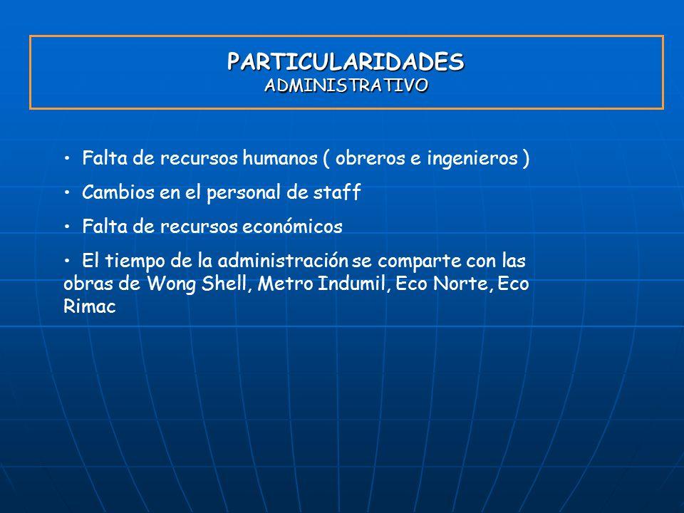 PARTICULARIDADES ADMINISTRATIVO Falta de recursos humanos ( obreros e ingenieros ) Cambios en el personal de staff Falta de recursos económicos El tie
