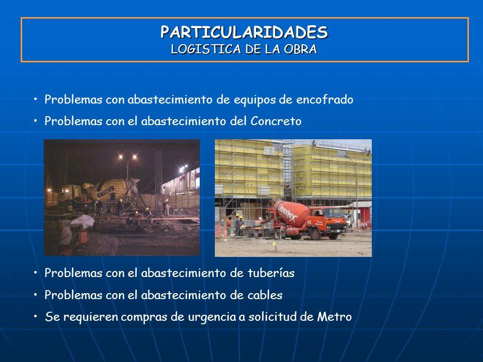 PARTICULARIDADES LOGISTICA DE LA OBRA Problemas con abastecimiento de equipos de encofrado Problemas con el abastecimiento del Concreto Problemas con