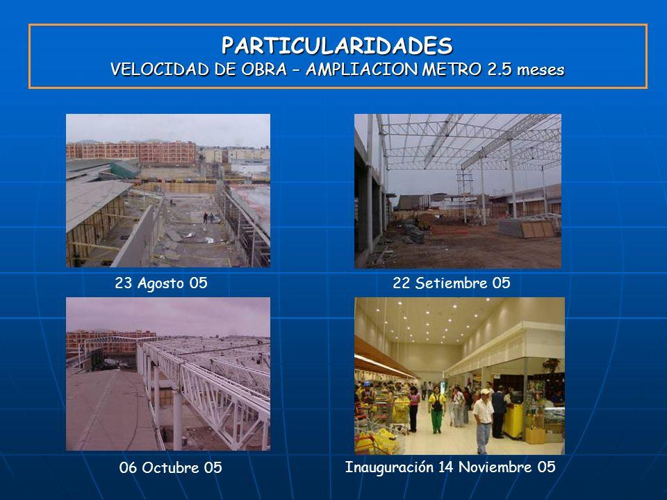 PARTICULARIDADES VELOCIDAD DE OBRA – AMPLIACION METRO 2.5 meses 23 Agosto 0522 Setiembre 05 06 Octubre 05 Inauguración 14 Noviembre 05