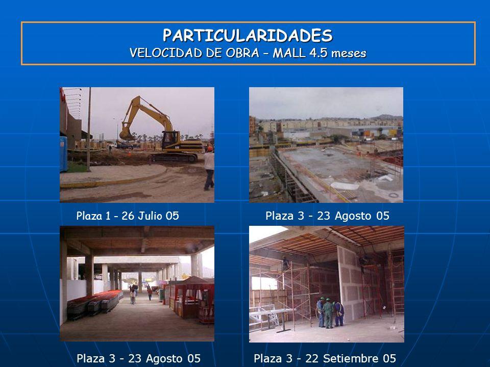 PARTICULARIDADES VELOCIDAD DE OBRA – MALL 4.5 meses Plaza 1 - 26 Julio 05 Plaza 3 - 23 Agosto 05 Plaza 3 - 22 Setiembre 05Plaza 3 - 23 Agosto 05