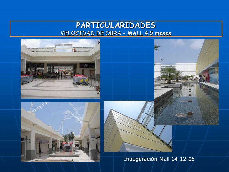 PARTICULARIDADES VELOCIDAD DE OBRA – MALL 4.5 meses Inauguración Mall 14-12-05