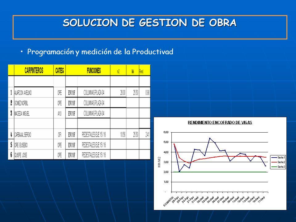 SOLUCION DE GESTION DE OBRA Programación y medición de la Productivad