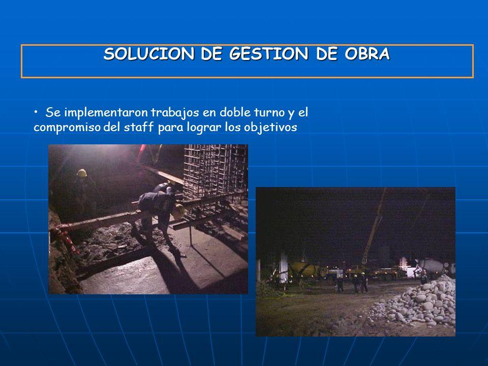 SOLUCION DE GESTION DE OBRA Se implementaron trabajos en doble turno y el compromiso del staff para lograr los objetivos