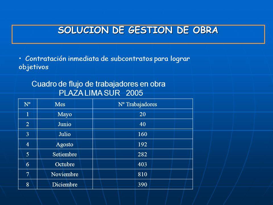 SOLUCION DE GESTION DE OBRA Contratación inmediata de subcontratos para lograr objetivos Cuadro de flujo de trabajadores en obra PLAZA LIMA SUR 2005 N