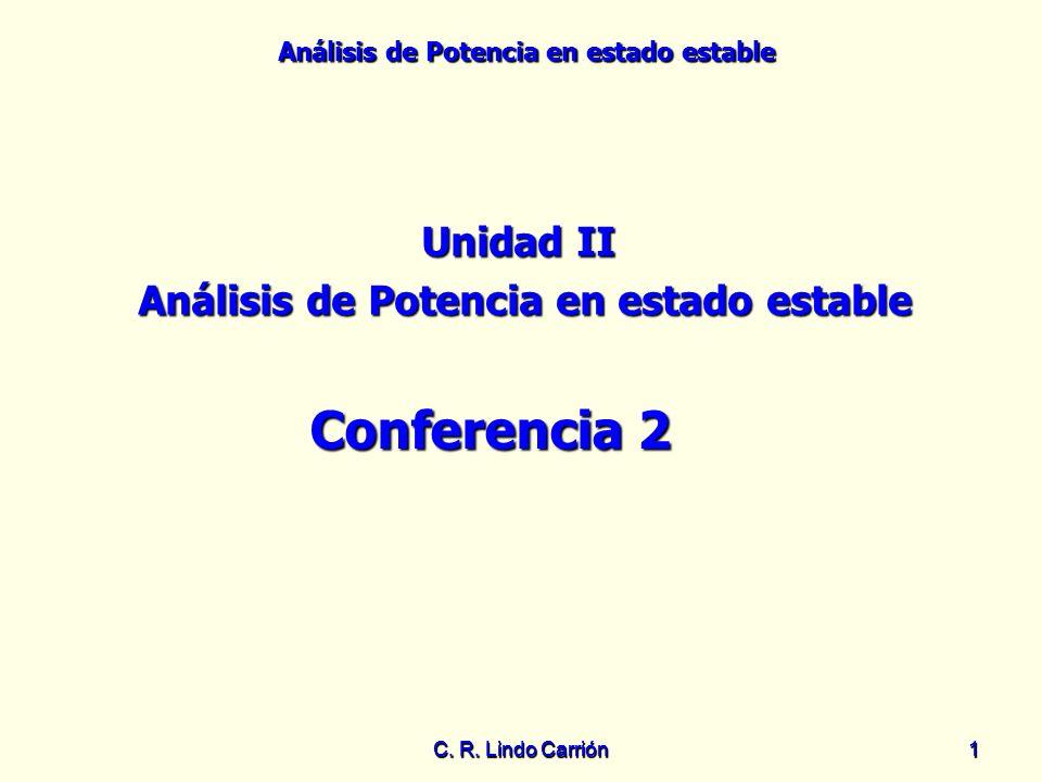 Análisis de Potencia en estado estable C. R. Lindo Carrión11 Unidad II Análisis de Potencia en estado estable Conferencia 2