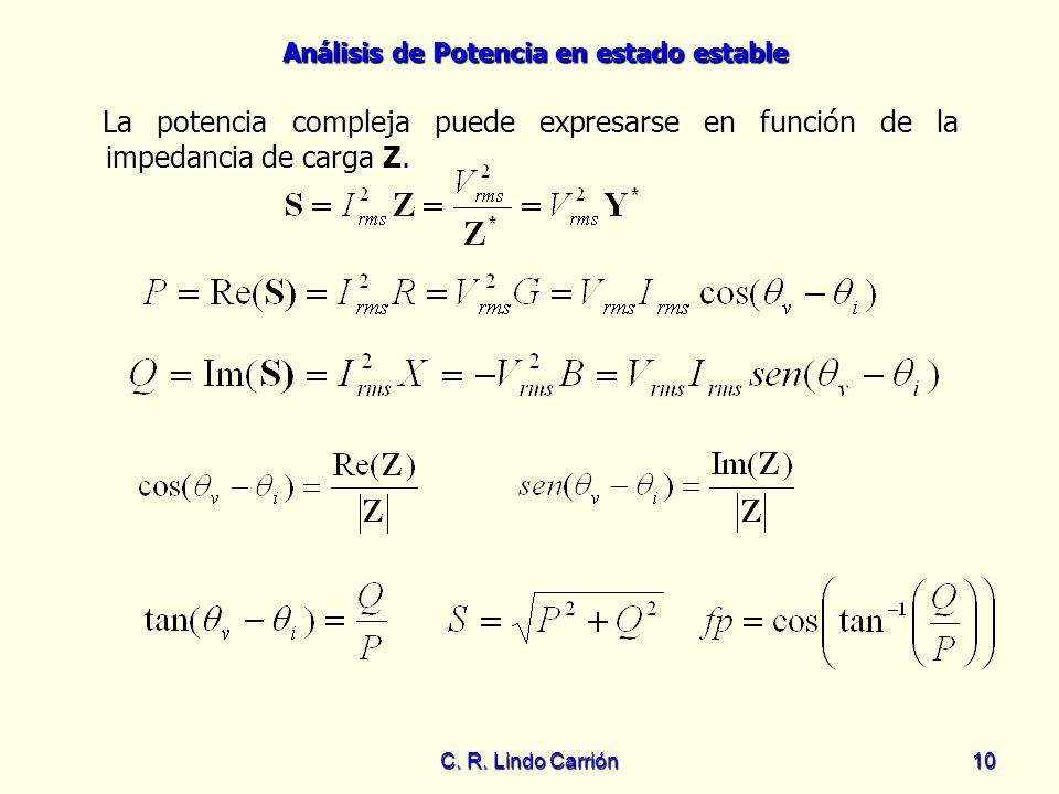 Análisis de Potencia en estado estable C. R. Lindo Carrión10 La potencia compleja puede expresarse en función de la impedancia de carga Z. La potencia