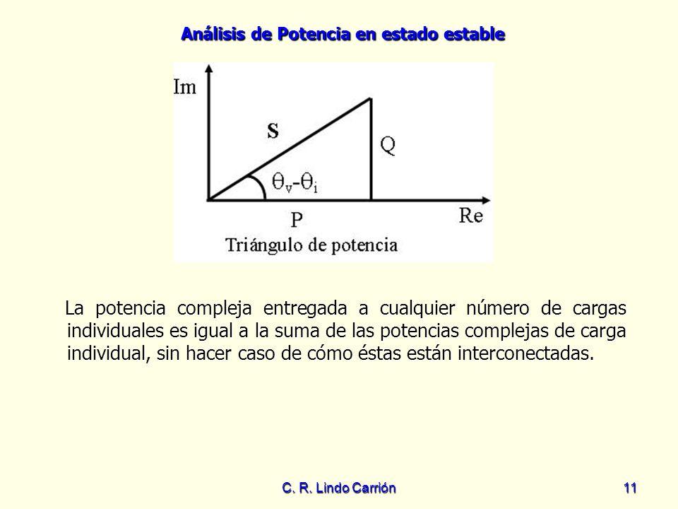 Análisis de Potencia en estado estable C. R. Lindo Carrión11 La potencia compleja entregada a cualquier número de cargas individuales es igual a la su