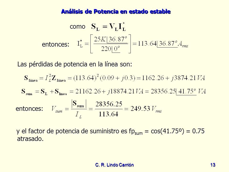 Análisis de Potencia en estado estable C. R. Lindo Carrión13 Las pérdidas de potencia en la línea son: Las pérdidas de potencia en la línea son: como