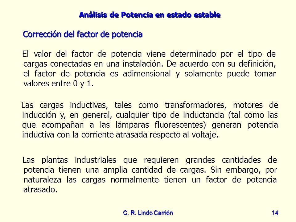 Análisis de Potencia en estado estable C. R. Lindo Carrión14 Corrección del factor de potencia Las cargas inductivas, tales como transformadores, moto