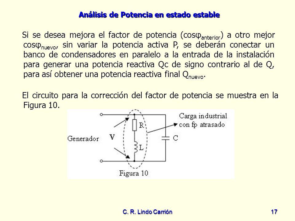 Análisis de Potencia en estado estable C. R. Lindo Carrión17 El circuito para la corrección del factor de potencia se muestra en la Figura 10. El circ