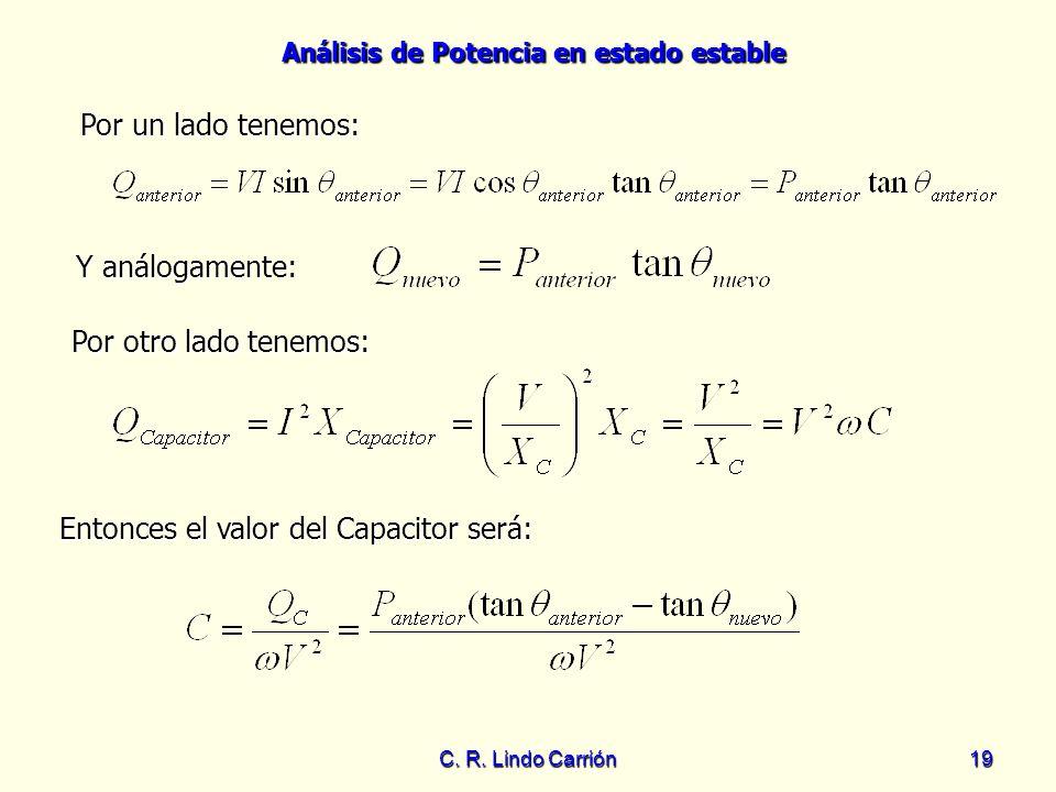 Análisis de Potencia en estado estable C. R. Lindo Carrión19 Entonces el valor del Capacitor será: Entonces el valor del Capacitor será: Por un lado t