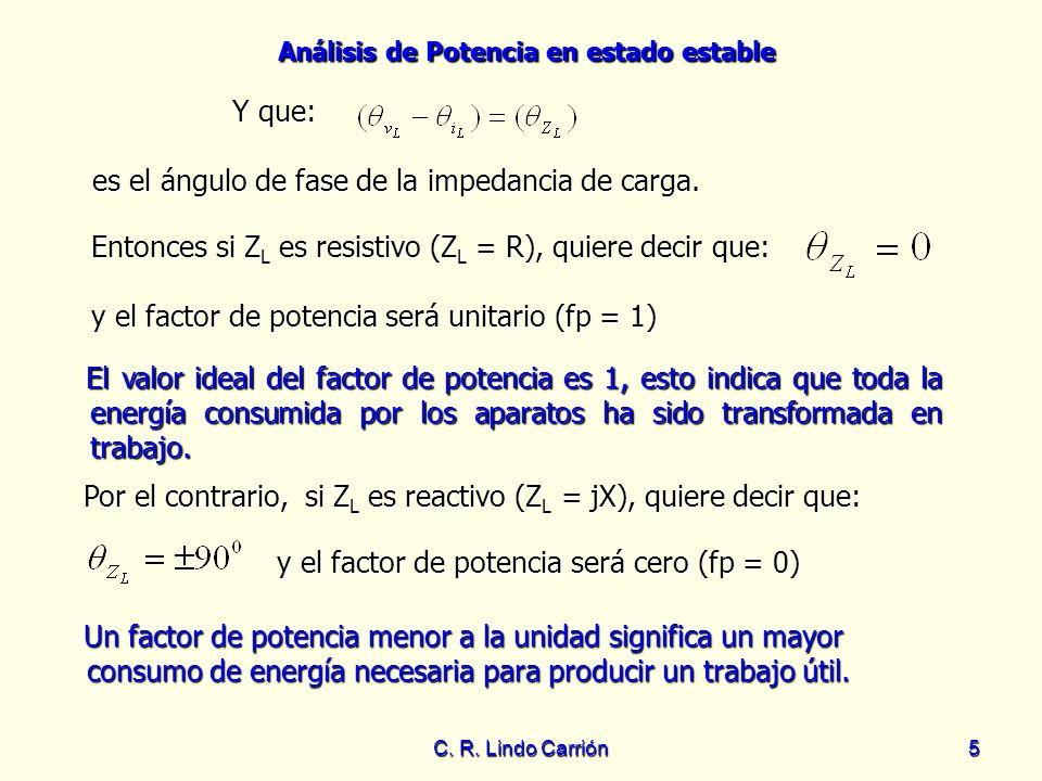 Análisis de Potencia en estado estable C. R. Lindo Carrión5 Y que: El valor ideal del factor de potencia es 1, esto indica que toda la energía consumi