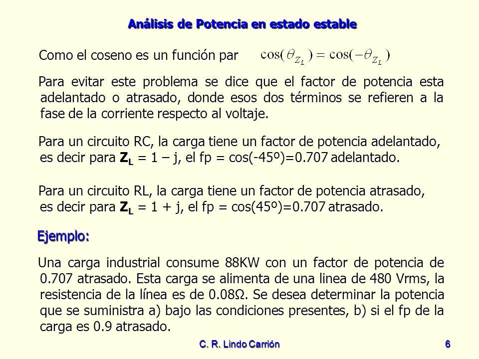 Análisis de Potencia en estado estable C. R. Lindo Carrión6 Como el coseno es un función par Para evitar este problema se dice que el factor de potenc