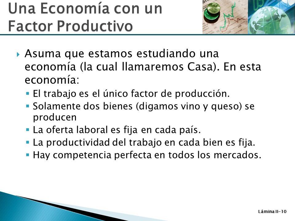 Lámina II-10 Asuma que estamos estudiando una economía (la cual llamaremos Casa). En esta economía: El trabajo es el único factor de producción. Solam