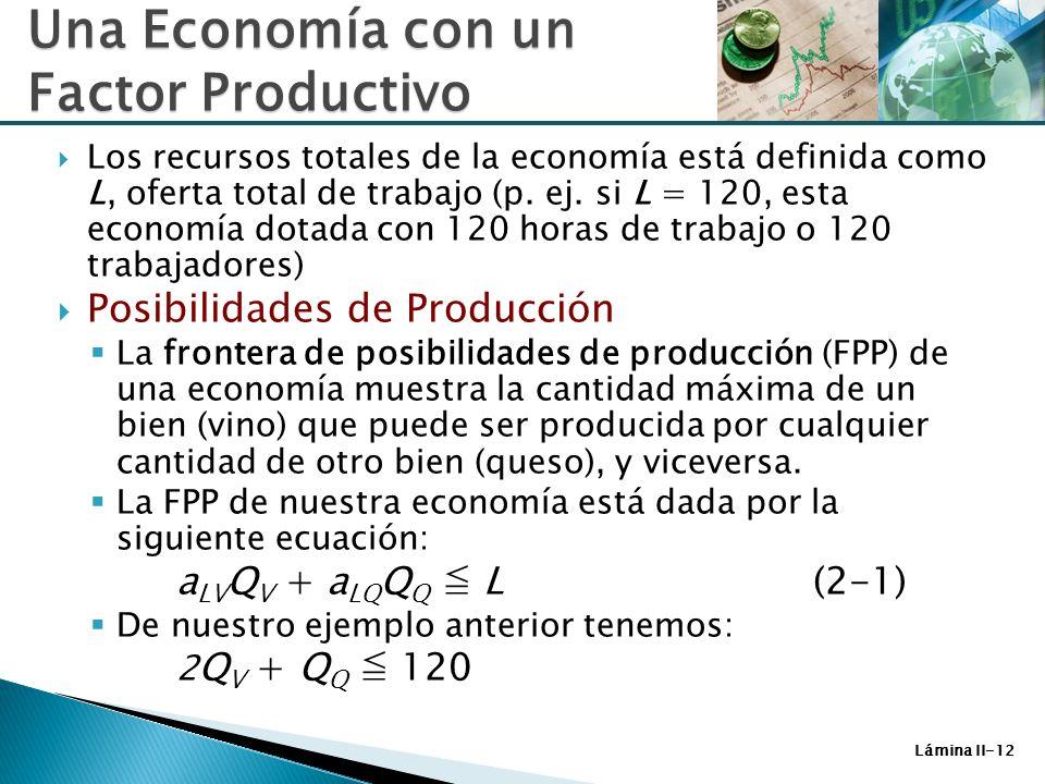 Lámina II-12 Una Economía con un Factor Productivo Los recursos totales de la economía está definida como L, oferta total de trabajo (p. ej. si L = 12