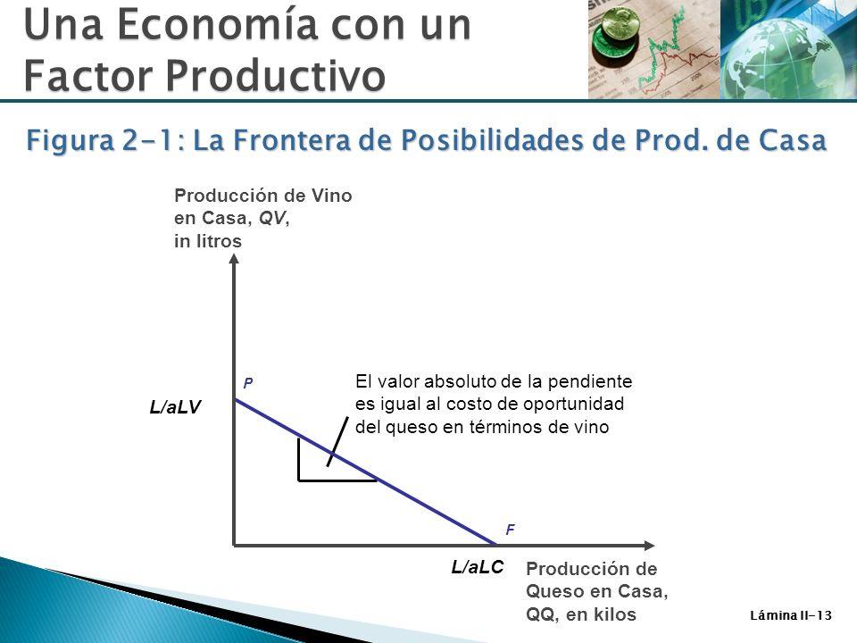 Lámina II-13 Figura 2-1: La Frontera de Posibilidades de Prod. de Casa Una Economía con un Factor Productivo L/aLV L/aLC El valor absoluto de la pendi