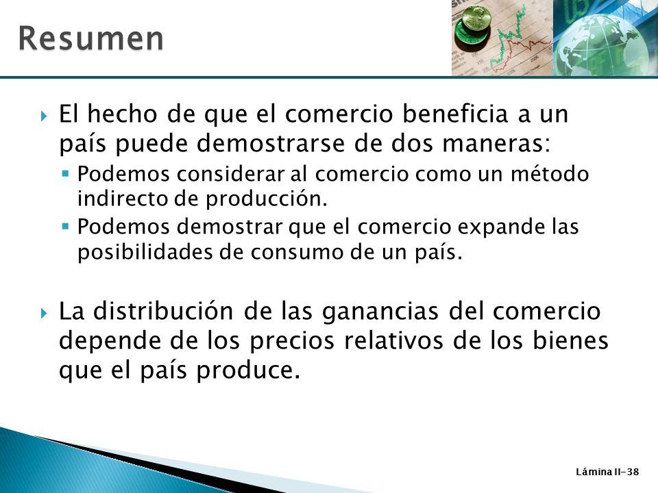 Lámina II-38 El hecho de que el comercio beneficia a un país puede demostrarse de dos maneras: Podemos considerar al comercio como un método indirecto