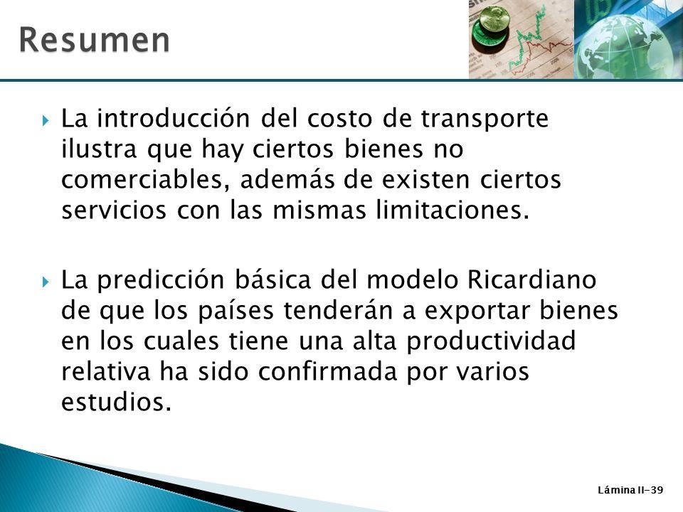 Lámina II-39 La introducción del costo de transporte ilustra que hay ciertos bienes no comerciables, además de existen ciertos servicios con las misma