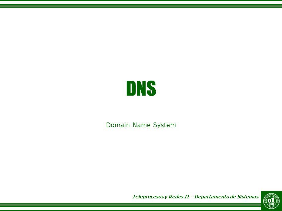 Teleprocesos y Redes II – Departamento de Sistemas DNS Domain Name System