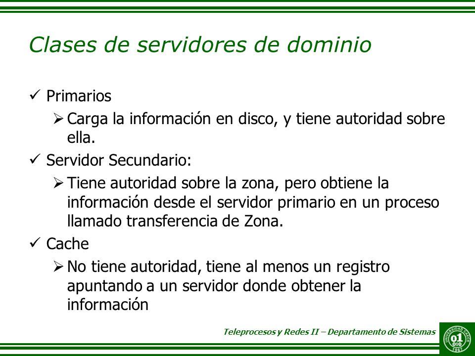 Teleprocesos y Redes II – Departamento de Sistemas Clases de servidores de dominio Primarios Carga la información en disco, y tiene autoridad sobre el