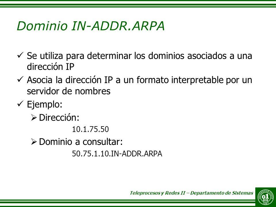 Teleprocesos y Redes II – Departamento de Sistemas Dominio IN-ADDR.ARPA Se utiliza para determinar los dominios asociados a una dirección IP Asocia la