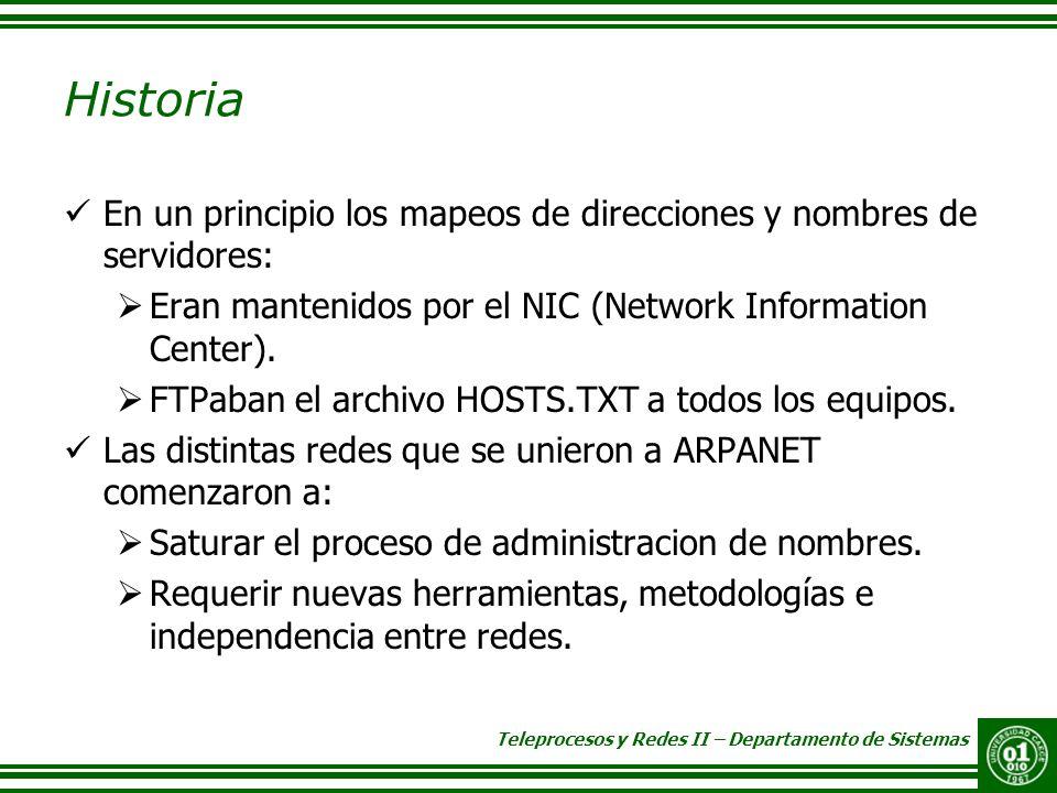 Teleprocesos y Redes II – Departamento de Sistemas Historia En un principio los mapeos de direcciones y nombres de servidores: Eran mantenidos por el