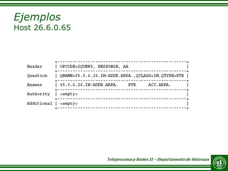 Teleprocesos y Redes II – Departamento de Sistemas Ejemplos Host 26.6.0.65