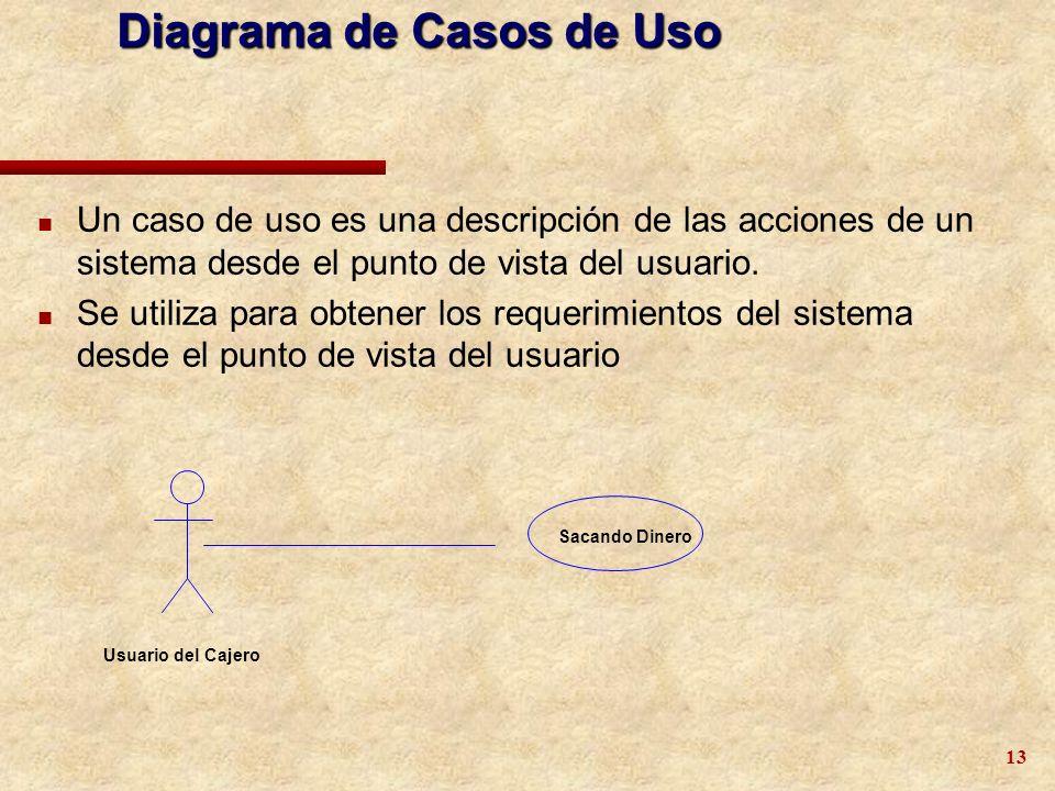 13 Diagrama de Casos de Uso n Un caso de uso es una descripción de las acciones de un sistema desde el punto de vista del usuario. n Se utiliza para o