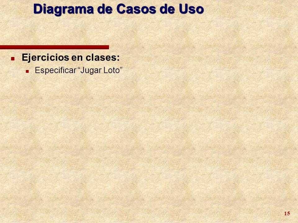 15 Diagrama de Casos de Uso n Ejercicios en clases: n Especificar Jugar Loto