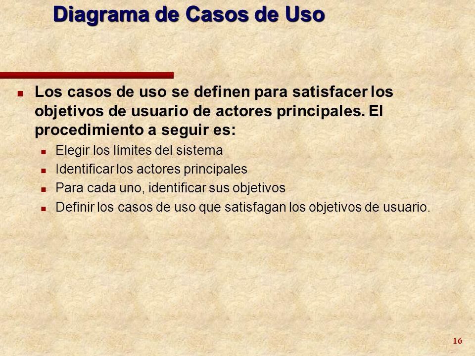 16 n Los casos de uso se definen para satisfacer los objetivos de usuario de actores principales. El procedimiento a seguir es: n Elegir los límites d