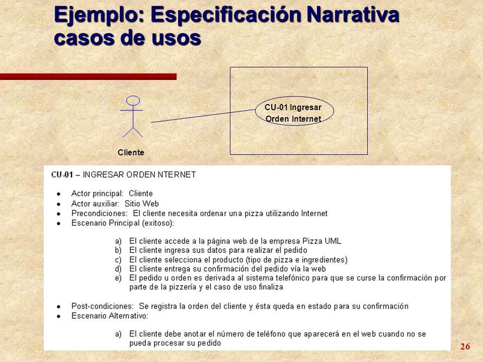 26 Cliente CU-01 Ingresar Orden Internet Ejemplo: Especificación Narrativa casos de usos