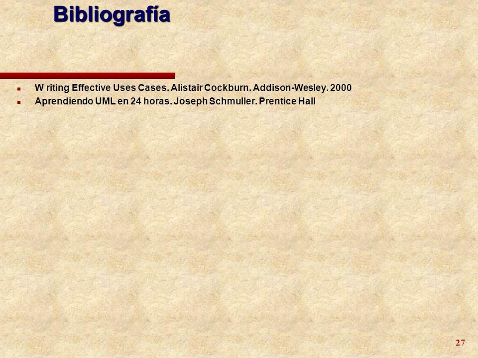 27 n W riting Effective Uses Cases. Alistair Cockburn. Addison-Wesley. 2000 n Aprendiendo UML en 24 horas. Joseph Schmuller. Prentice Hall Bibliografí