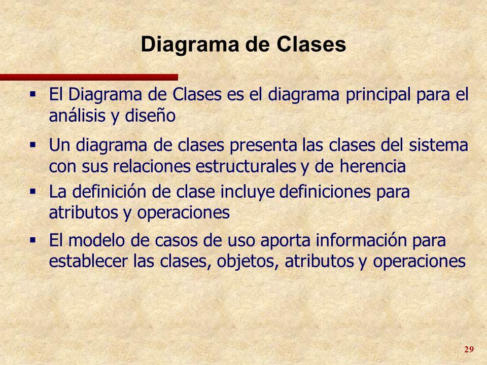 29 Diagrama de Clases El Diagrama de Clases es el diagrama principal para el análisis y diseño Un diagrama de clases presenta las clases del sistema c