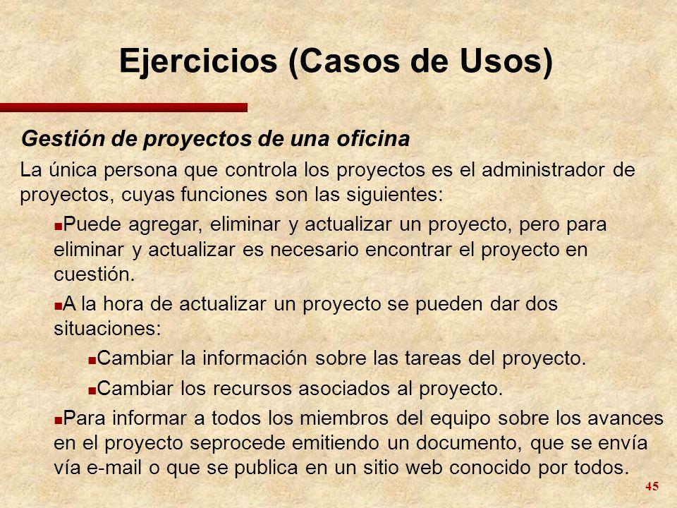 45 Ejercicios (Casos de Usos) Gestión de proyectos de una oficina La única persona que controla los proyectos es el administrador de proyectos, cuyas