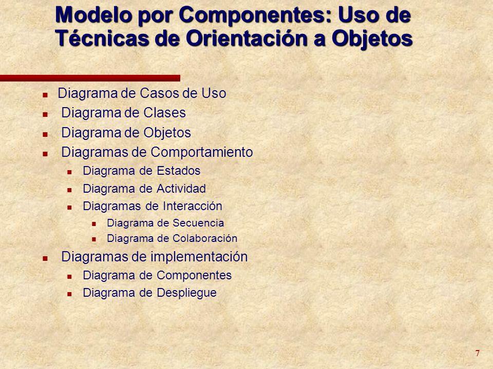 28 Diagrama de Clases El Diagrama de Clases es el diagrama principal para el análisis y diseño Un diagrama de clases presenta las clases del sistema con sus relaciones estructurales y de herencia La definición de clase incluye definiciones para atributos y operaciones El modelo de casos de uso aporta información para establecer las clases, objetos, atributos y operaciones