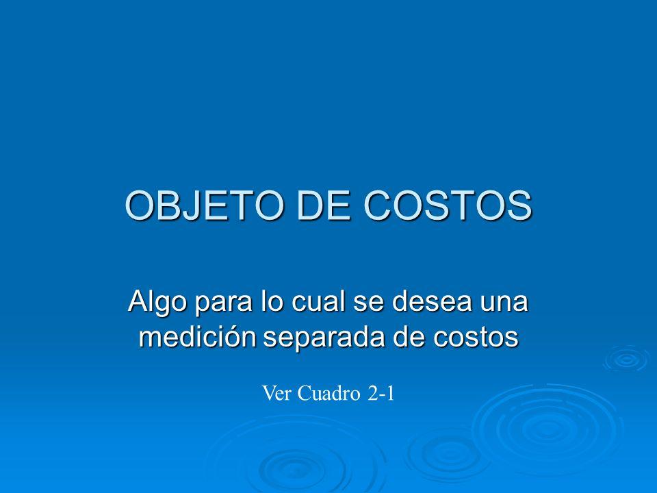 OBJETO DE COSTOS Algo para lo cual se desea una medición separada de costos Ver Cuadro 2-1