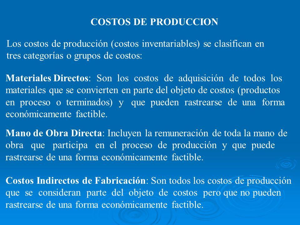 COSTOS DE PRODUCCION Los costos de producción (costos inventariables) se clasifican en tres categorías o grupos de costos: Materiales Directos: Son lo