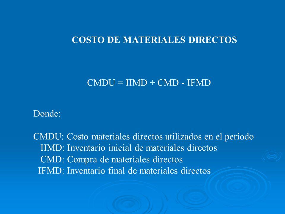COSTO DE MATERIALES DIRECTOS CMDU = IIMD + CMD - IFMD Donde: CMDU: Costo materiales directos utilizados en el período IIMD: Inventario inicial de mate