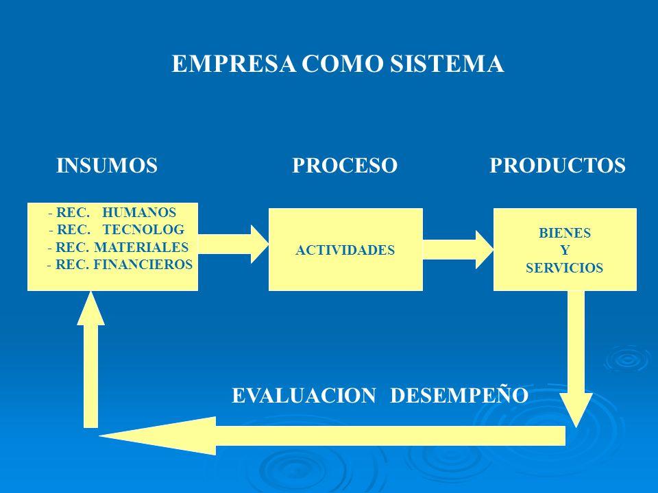 - REC. HUMANOS - REC. TECNOLOG - REC. MATERIALES - REC. FINANCIEROS ACTIVIDADES BIENES Y SERVICIOS INSUMOSPROCESOPRODUCTOS EVALUACION DESEMPEÑO EMPRES