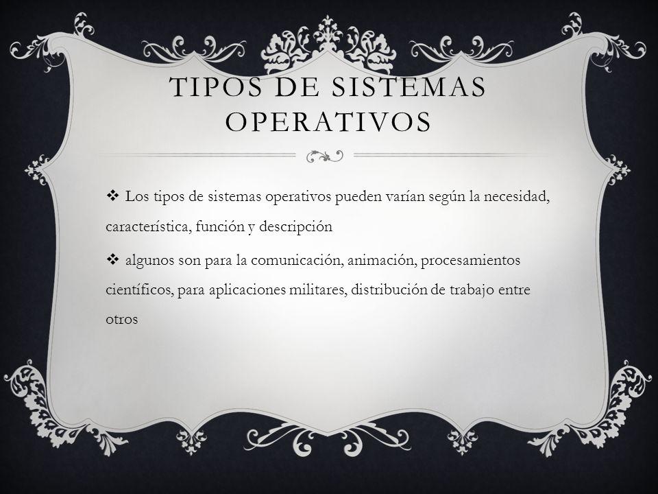 TIPOS DE SISTEMAS OPERATIVOS Los tipos de sistemas operativos pueden varían según la necesidad, característica, función y descripción algunos son para