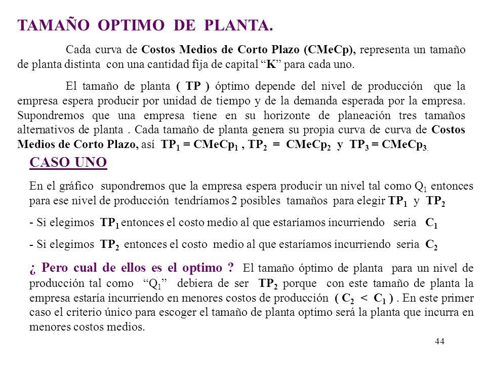 COSTOS MEDIOS DE LARGO PLAZO (CMeLp) En el largo plazo la empresa enfrenta a un numero muy grande de posibles tamaños de planta y por eso la Curva de